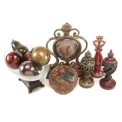 Mantel Clock with Glass Fruit Centerpiece and Other Table Top Décor