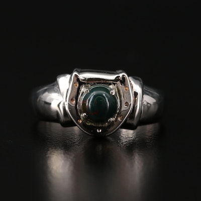 10K Bloodstone Cabochon Horseshoe Ring