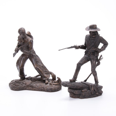 """Jim Ponter Plaster Sculptures """"The Cavalry Man"""" and """"The Trail Boss"""""""