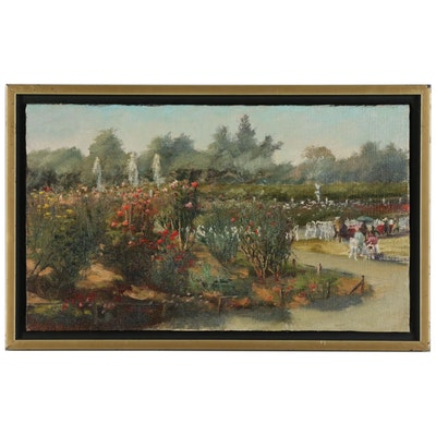 """Kaz Ooka Landscape Oil Painting """"A Path in the Rose Garden"""""""