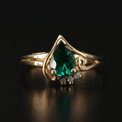 10K Synthetic Emerald and Diamond Ring