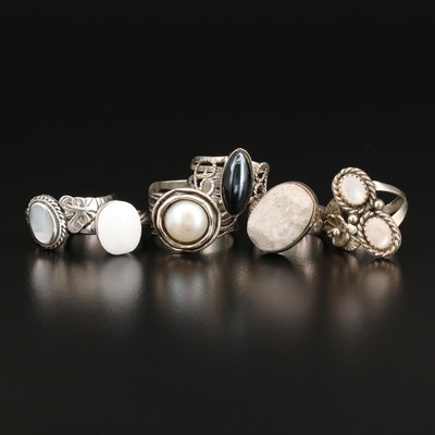 Sterling Rings with Hematite, Pearl and Mother of Pearl Featuring Didae