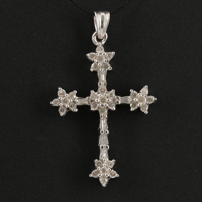 14K Gold and Diamonds Cross Pendant