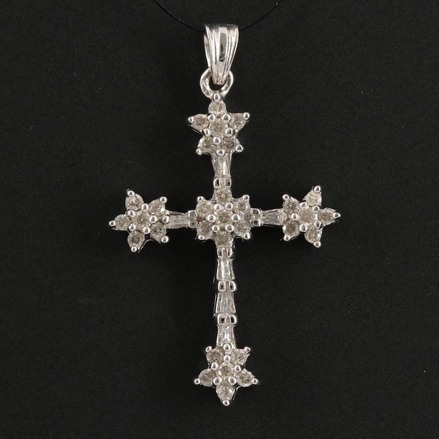 14K Gold and Diamonds Cross Pendant