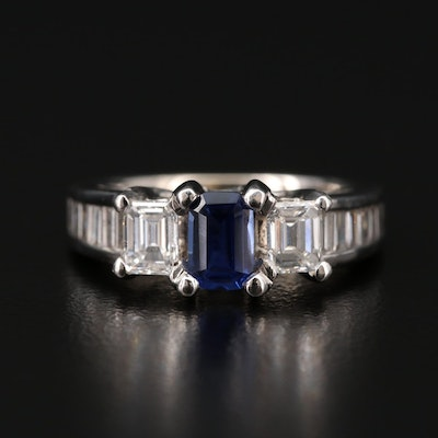 14K Synthetic Sapphire and 1.90 CTW Diamond Ring