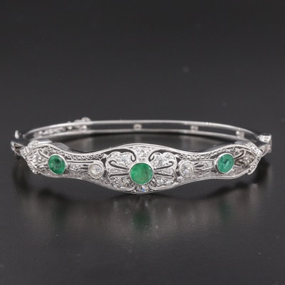 14K White Gold Emerald and 0.98 CTW Diamond Bracelet With Platinum Top