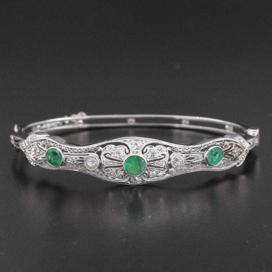 14K White Gold Emerald and 0.98 CTW Diamond Bracelet With Platinum Top