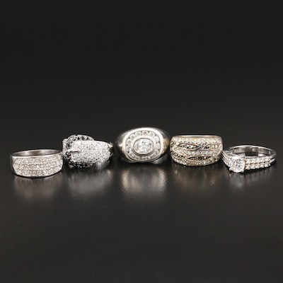 Collection of Sterling Silver Rings with Glass, Cubic Zirconia and Marcasite