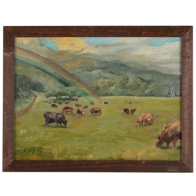 "Kaz Ooka Pastoral Oil Painting ""Cattle on the Meadow"""