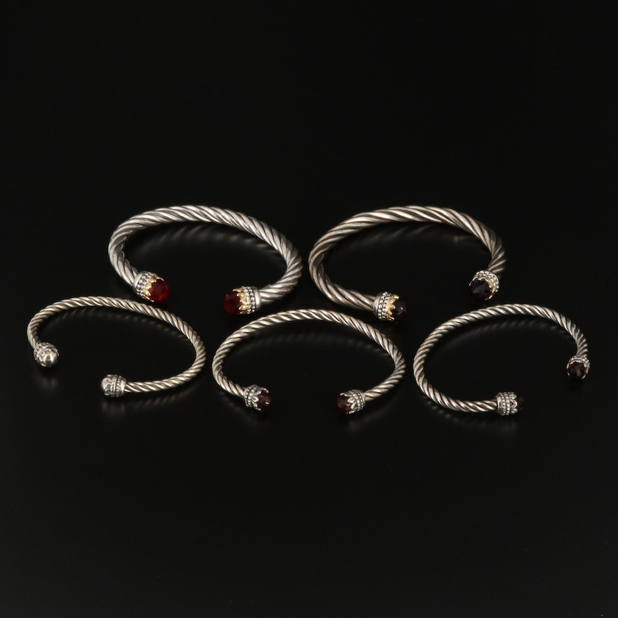 Sterling Silver and Glass Cable Bracelets
