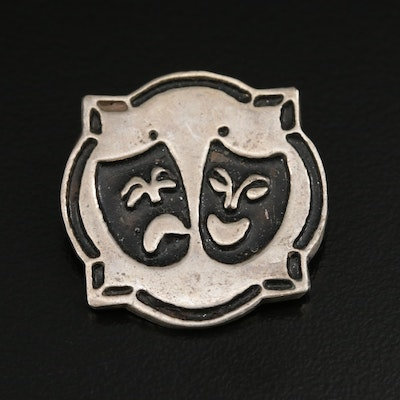 Sterling Silver Converter Brooch Featuring Comedy and Tragedy Theater Masks