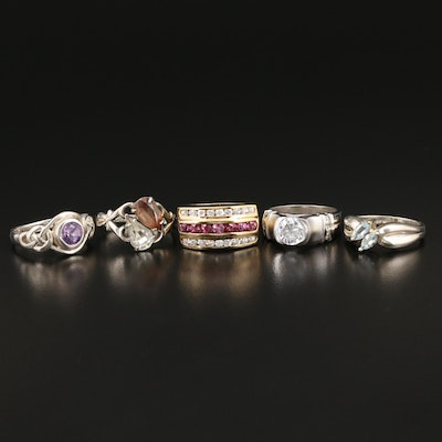 Sterling Rings with Amethyst, Glass and Cubic Zirconia