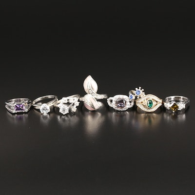 Sterling Rings with Cubic Zirconia, Mother of Pearl, Glass and Imitation Emerald