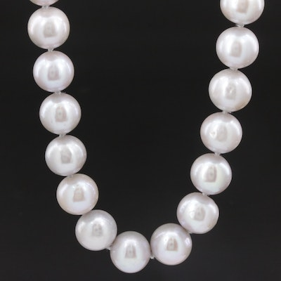 Pearl Single Strand Necklace with Sterling Silver Clasp