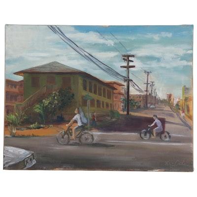 """Kaz Ooka Street Scene Oil Painting """"Moiliili Hawaii"""""""
