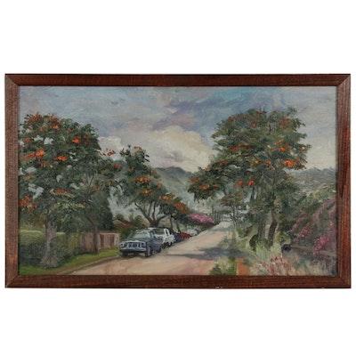 "Kaz Ooka Oil Painting ""African Tulip"""