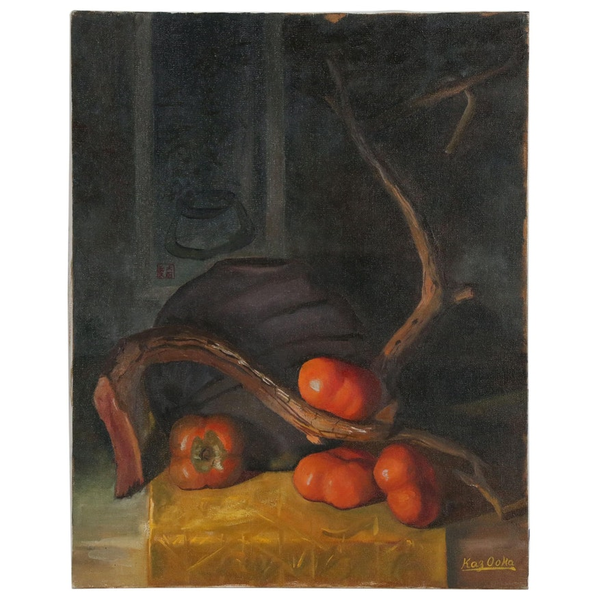 "Kaz Ooka Still Life Oil Painting ""Persimmons"""