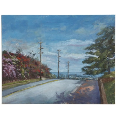 "Kaz Ooka Oil Painting ""From the Hills of Kaimuki"""