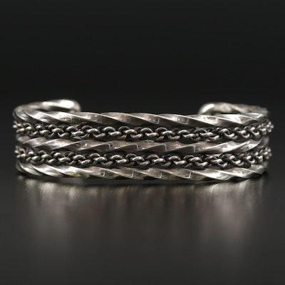 Sterling Silver Braided Wire Wire Cuff Bracelet