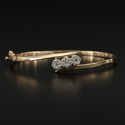 14K Yellow Gold 0.65 CTW Diamond Bypass Style Bracelet