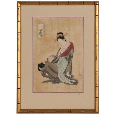"After Hosoda Eishi Woodblock Print ""Morokoshi of the Echizenya"""