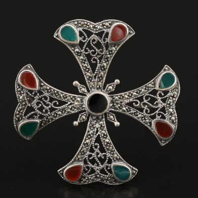 Sterling Silver Multi-Gemstone Maltese Cross Converter Brooch