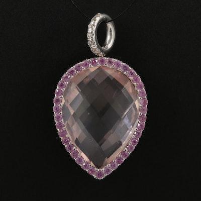 18K Gold Rose Quartz, Diamond and Sapphire Reversible Pendant