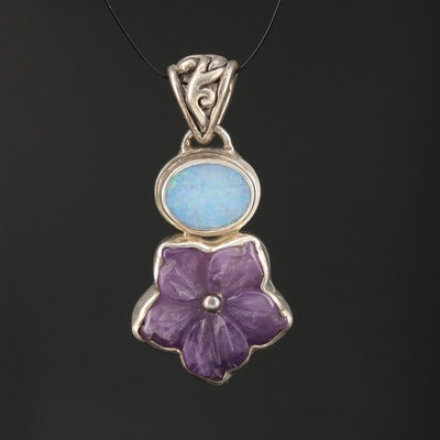 Sterling Silver Carved Amethyst and Opal Flower Pendant