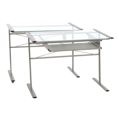 Brushed Finish Metal and Glass Two-Piece Desk