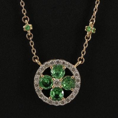 14K Garnet and Diamond Station Necklace