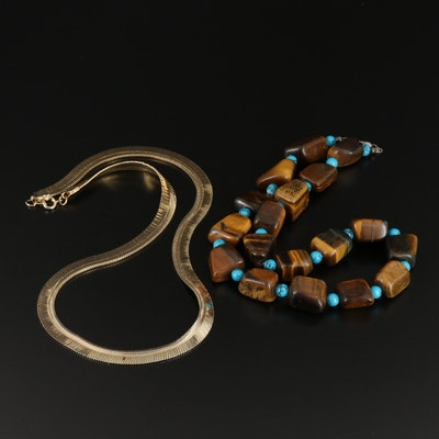 Tiger's Eye, Turquoise Necklace with Sterling Clasps and Herringbone Necklace
