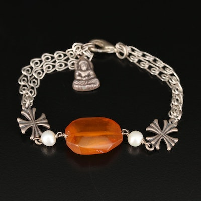 Sterling Amber and Pearl Maltese Cross and Buddha Bracelet