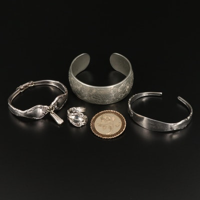 Jewelry Selection Featuring Sterling Silver and Kirk Pewter Cuff Bracelet