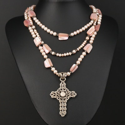 Barse Sterling Pearl and Mother of Pearl Cross Necklace