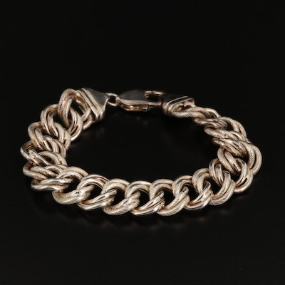 Sterling Silver Double Curb Chain Bracelet