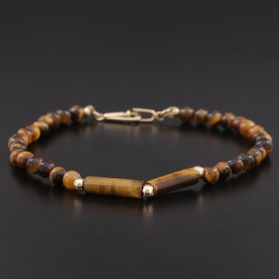 Tiger's Eye Beaded Bracelet with 14K Yellow Gold Clasp and Spacer Beads