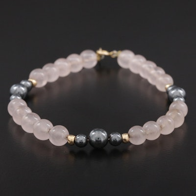 Beaded Hematite and Rose Quartz Bracelet with 14K Gold Spacer Beads and Clasp