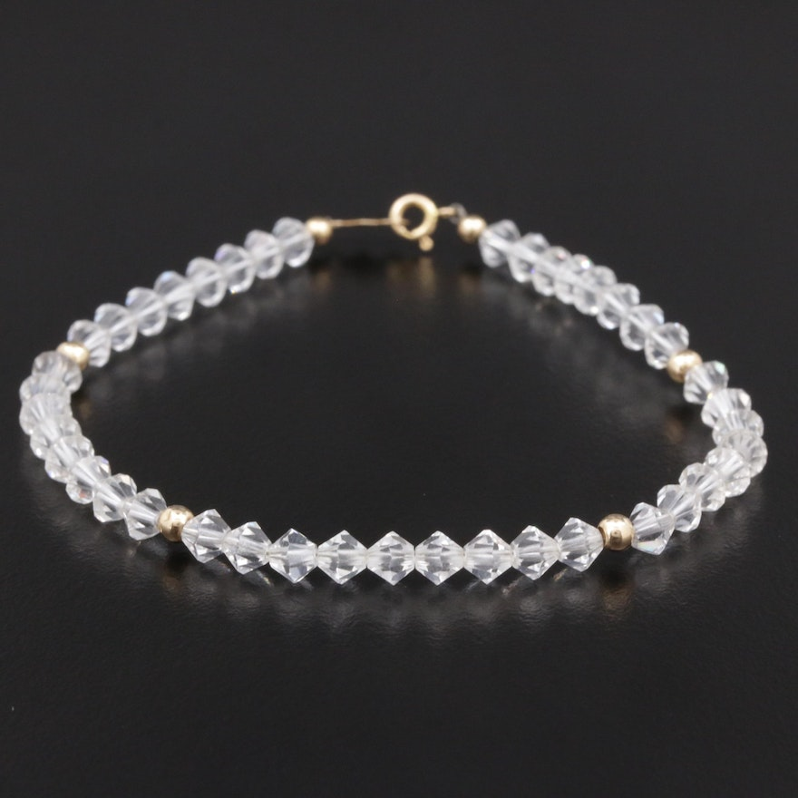 Faceted Glass Rondelle Bead Bracelet with 14K Yellow Gold Clasp