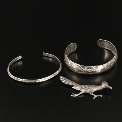 Gilbert Begay Navajo Diné and Bell Trading Post Cuffs and Roadrunner Brooch