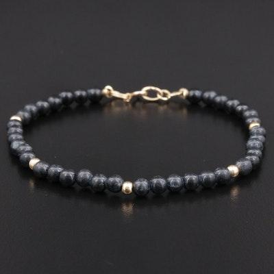 Beaded Black Onyx  Bracelet with 14K Yellow Gold Clasp