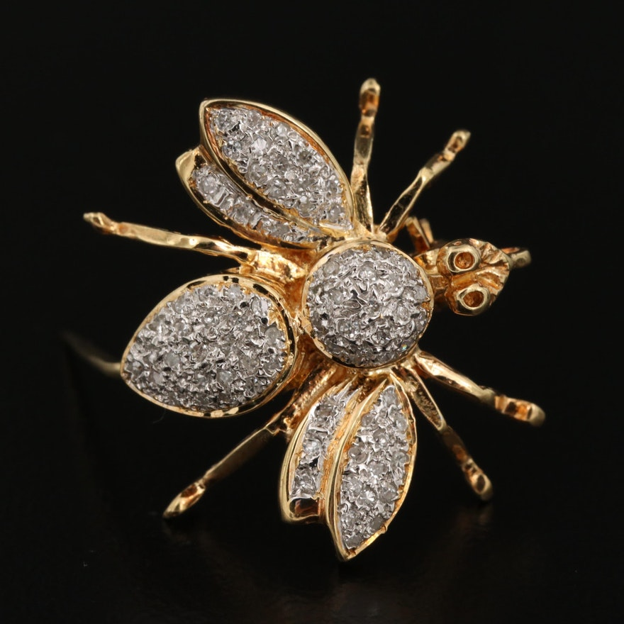 14K Yellow Gold Diamond Insect Converter Brooch
