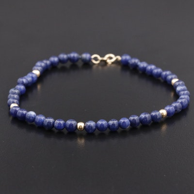 14K Lapis Lazuli Beaded Bracelet
