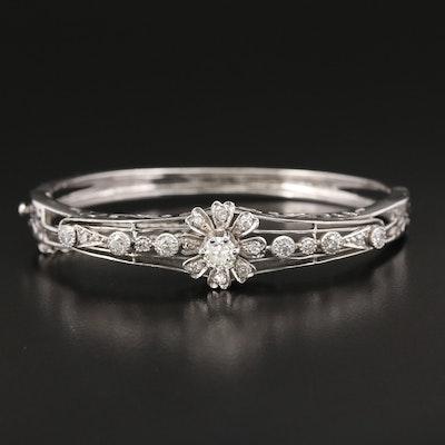 Vintage 14K White Gold 1.42 CTW Diamond Bangle Bracelet With Foliate Design