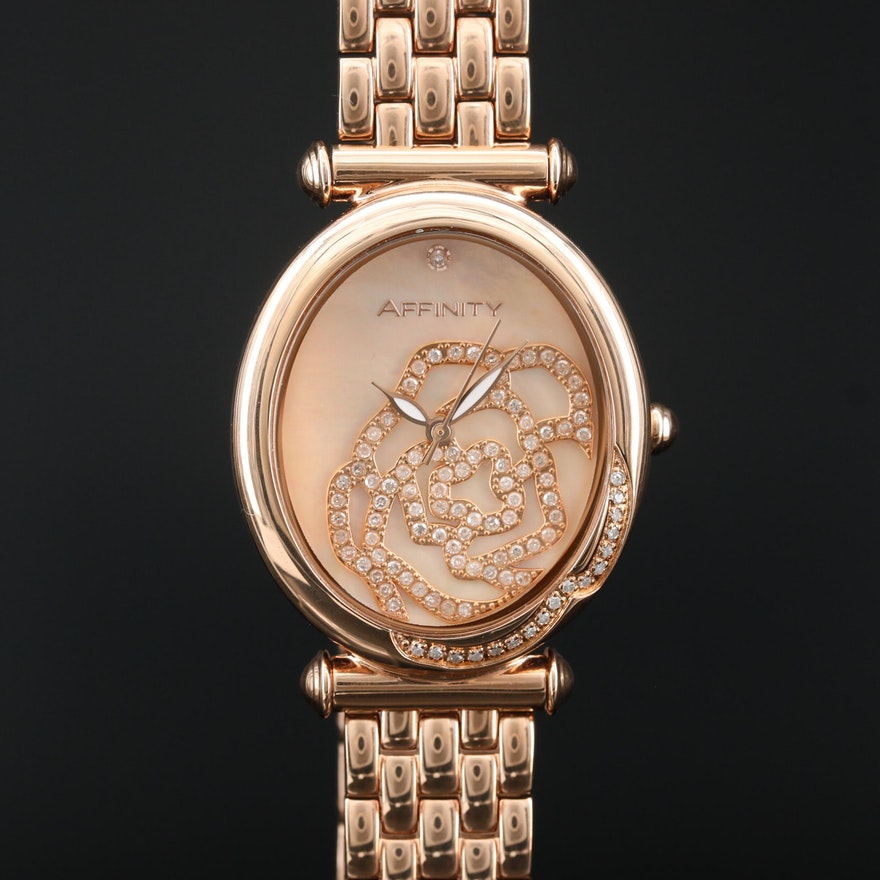 Affinity Rose Gold Tone Mother of Pearl and Diamond Dial Quartz Wristwatch