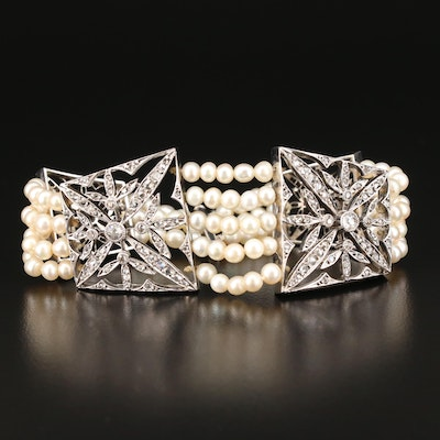 French Belle Epoque 14K and Sterling Pearl and 1.48 CTW Diamond Bracelet