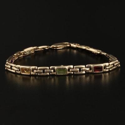 14K Gold Amethyst, Topaz, Garnet, Peridot and Citrine Bracelet