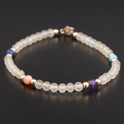 14K Frosted Glass Beaded Bracelet with Mixed Gemstone Accents