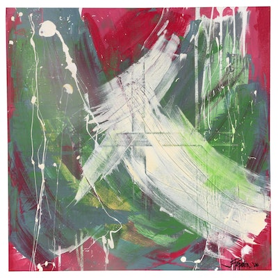"""J. Popolin Abstract Acrylic Painting """"Red Green Gray with White"""", 2020"""