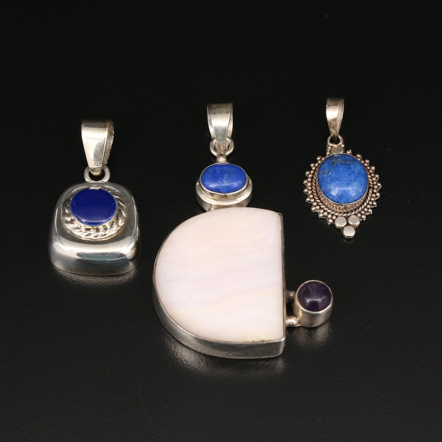 Sterling Pendants with Agate and Lapis Lazuli
