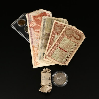 Collection of Vintage Foreign and Domestic Currency and Coins